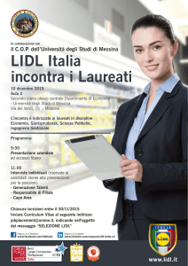 LIDL Italia incontra i Laureati - Universita` degli Studi di Messina