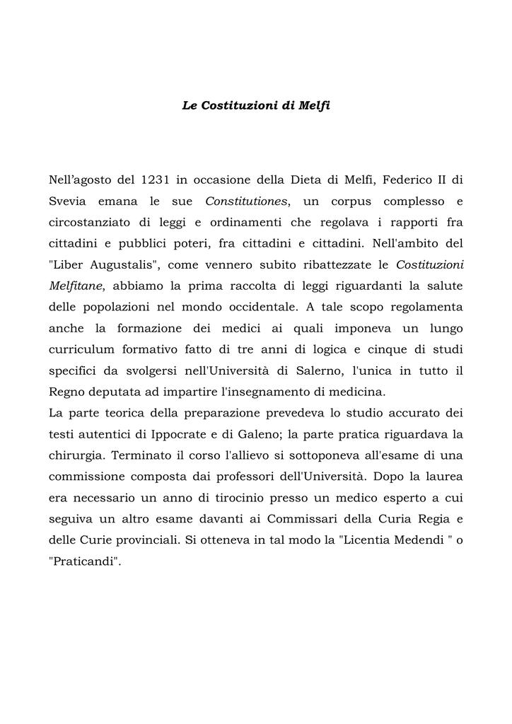 Le Costituzioni di Melfi Nell`agosto del 1231 in occasione della