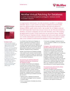McAfee Virtual Patching for Databases Scheda Tecnica