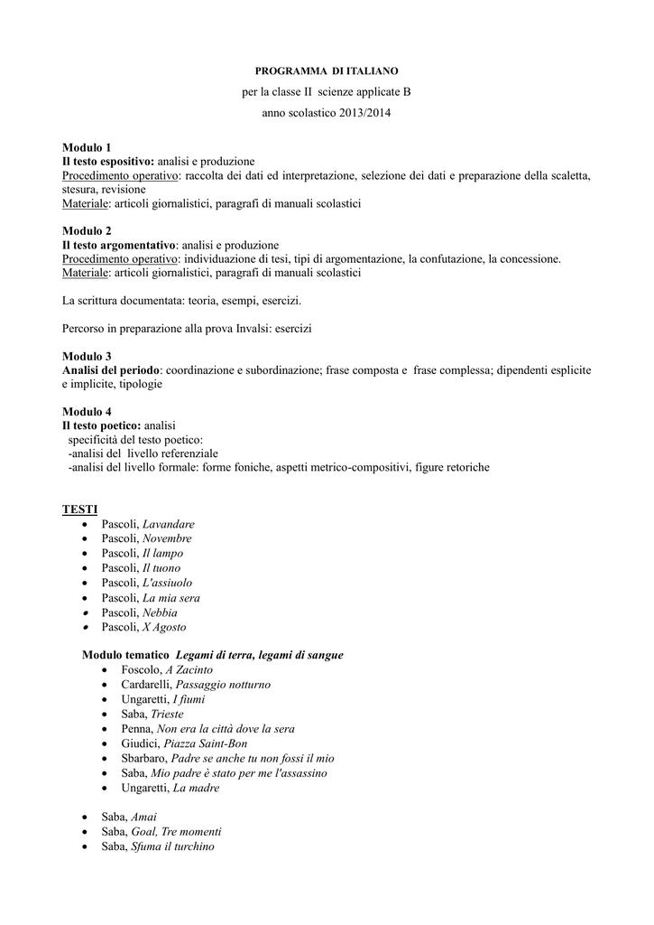 Per La Classe Ii Scienze Applicate B Anno Scolastico 20132014