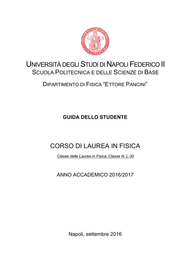 Calendario Appelli Unina.Corso Di Laurea In Fisica
