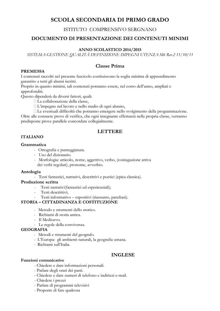 Obiettivi Minimi Classi Prime Modificato
