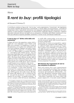 Il rent to buy: profili tipologici