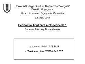 "Business plan - Università degli Studi di Roma ""Tor Vergata"""