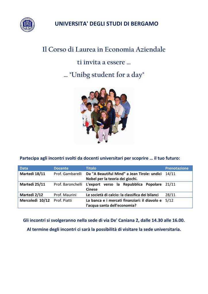 Calendario Esami Unibg Economia.Volantino Definitivo Progetto Unibg Student