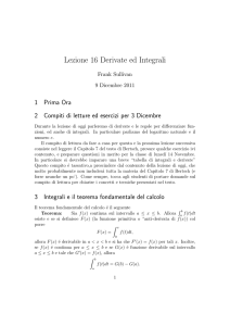 Lezione 16 Derivate ed Integrali