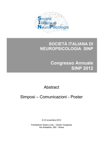 Abstracts - Società Italiana di NeuroPsicologia
