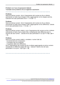 Problemi con l`uso di espressioni letterali Translate word problems