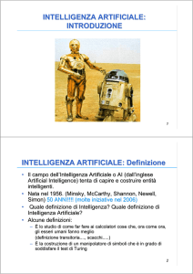 Introduzione all`Intelligenza Artificiale