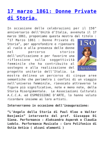 17 marzo 1861: Donne Private di Storia.