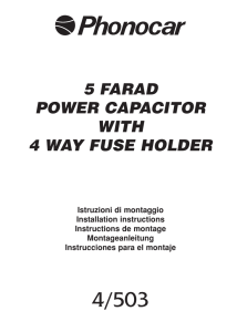 5 farad power capacitor with 4 way fuse holder