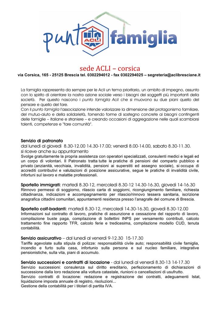Scarica La Scheda Del Punto Famiglia Di Via Corsica A