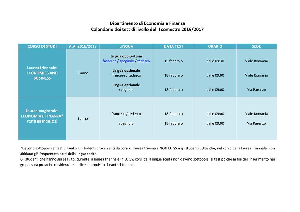 Ca Foscari Calendario Esami.Dipartimento Di Economia E Finanza Calendario Dei Test Di