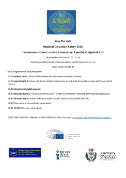 Save the date Regional Discussion Forum 2016 L`economia circolare