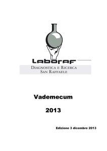 Vademecum 2013 - LABORATORIO ANALISI E DIAGNOSTICA