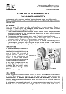 Note informative sull`esame endoscopico