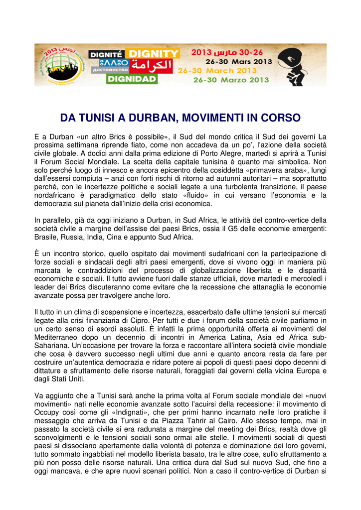 DA TUNISI A DURBAN, MOVIMENTI IN CORSO