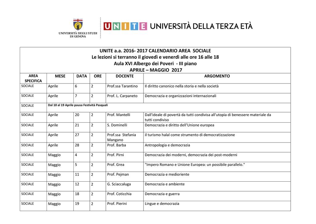Unite Genova Calendario.Unite A A 2016 2017 Calendario Area Sociale Le Lezioni Si