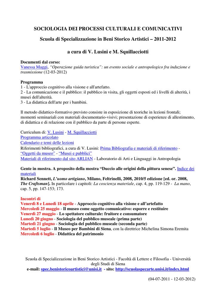Calendario Didattico Unisi.Sociologia Dei Processi Culturali E