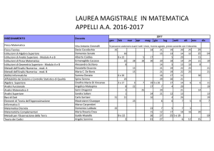 LAUREA MAGISTRALE IN MATEMATICA APPELLI A.A. 2016-2017