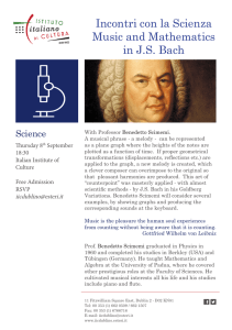 Incontri con la Scienza Music and Mathematics in J.S. Bach
