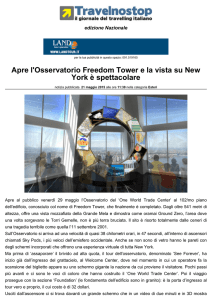 Apre l`Osservatorio Freedom Tower e la vista su New
