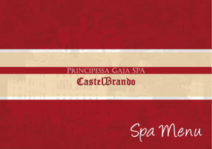 Spa Menu - Castelbrando