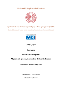 LANDS OF STRANGERS call for papers PADOVA OTTOBRE 12