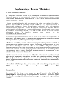 "Regolamento per l`esame ""Marketing ed Economia e gestione dell"