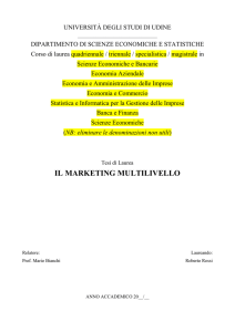 il marketing multilivello - Università degli Studi di Udine