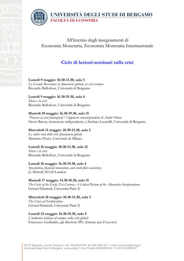 Calendario Esami Unibg Economia.All Interno Degli Insegnamenti Di Economia Monetaria