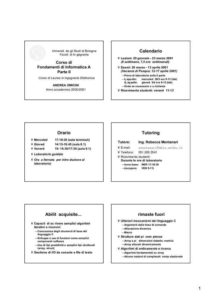 Unibo Calendario.1 Calendario Orario Tutoring Abilit Acquisite Rimaste Lia