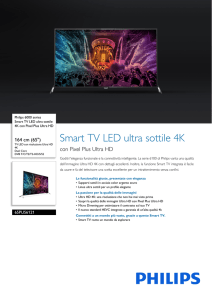 65PUS6121/12 Philips Smart TV LED ultra sottile 4K con Pixel Plus