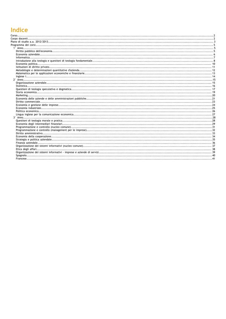 Calendario Lezioni Unicatt.Indice Universita Cattolica Del Sacro Cuore