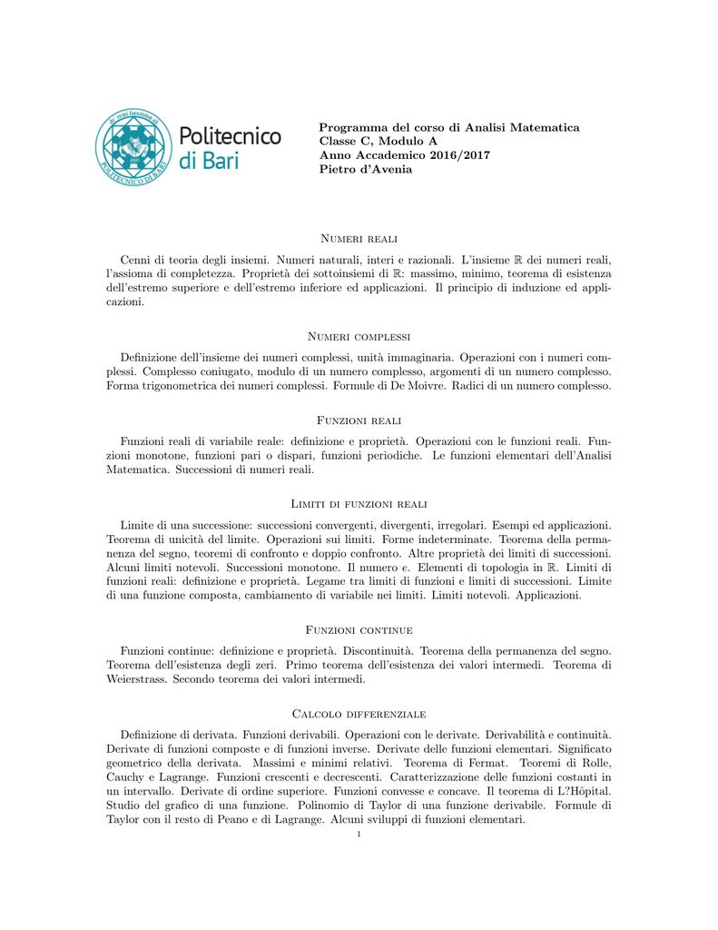 Teorema Dei Valori Intermedi.Programma Svolto Pietro D Avenia