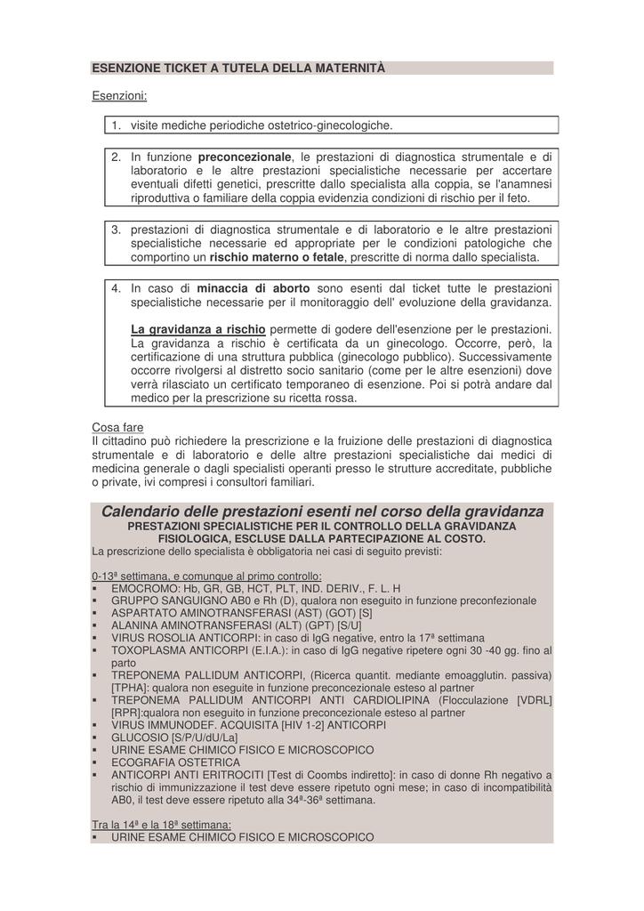 Calendario Esami Gravidanza Pdf.Esame Eseguito In Esenzione Con Codice M N Settimana Gestazione