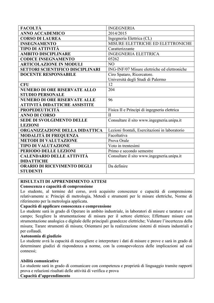 Calendario Didattico Unipa Ingegneria.Misure Elettriche Ed Elettroniche Unipa
