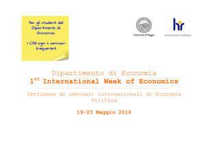 Dipartimento di Economia 1 International Week of Economics
