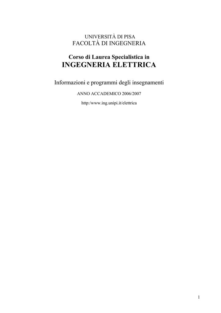 Calendario Lezioni Unipi.Ingegneria Elettrica Scuola Di Ingegneria