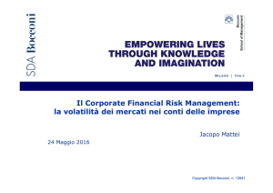 Il Corporate Financial Risk Management: la volatilità