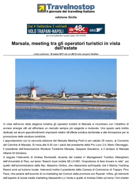 Marsala, meeting tra gli operatori turistici in vista dell`estate