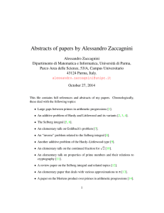 Abstracts of papers by Alessandro Zaccagnini