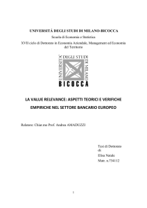 LA VALUE RELEVANCE: ASPETTI TEORICI E VERIFICHE