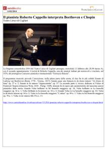 Il pianista Roberto Cappello interpreta Beethoven e Chopin
