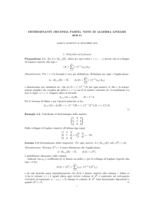 DETERMINANTI (SECONDA PARTE). NOTE DI ALGEBRA
