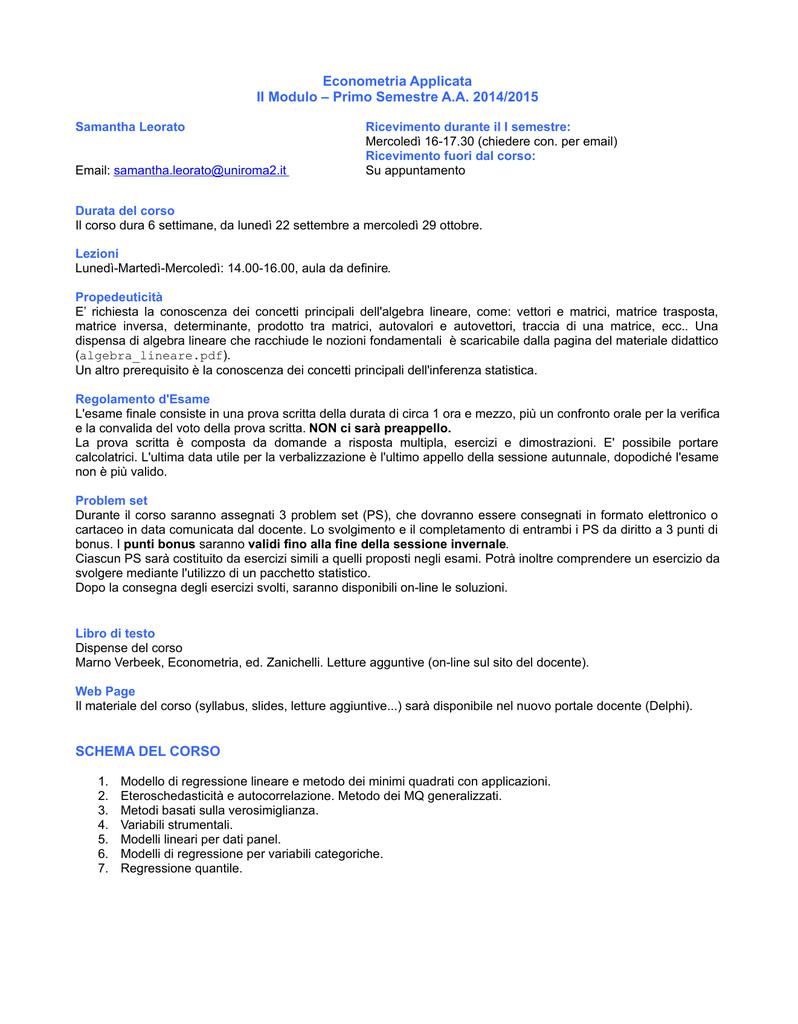 Calendario Esami Unipa Economia.Economia Del Lavoro Facolta Di Economia