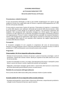 ECONOMIA INDUSTRIALE per Economia Industriale 9 CFU CdL in
