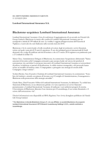 Blackstone* acquisisce Lombard International Assurance