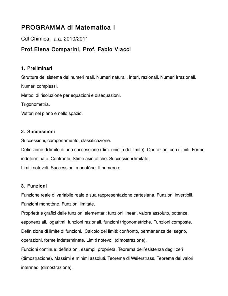 Teorema Dei Valori Intermedi.Programma Di Matematica I
