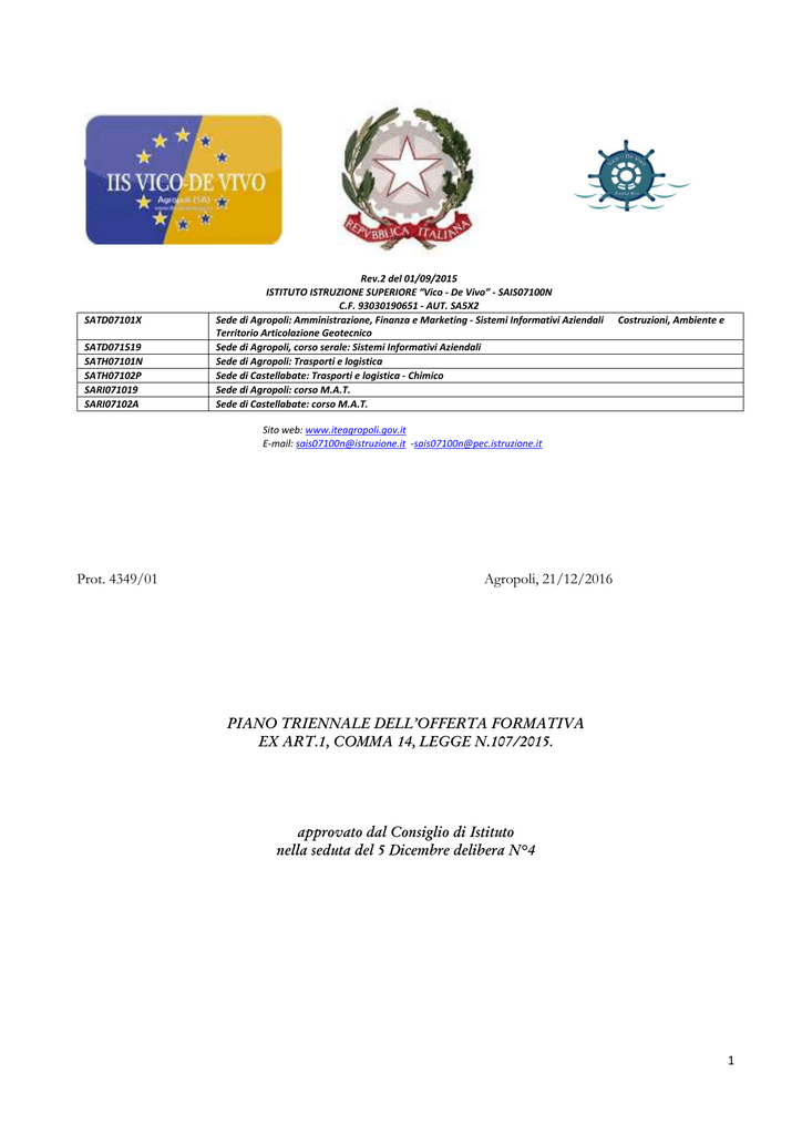 Polito Calendario Cronologico 2020.Ptof Iis Vico De Vivo Agropoli